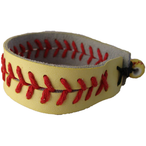 Softball Bracelet Leather Sports Wristband Yellow with Ball