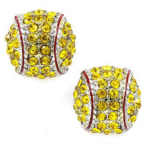 Softball Fine Seam Earrings Post Earrings Rhinestone Jewelry