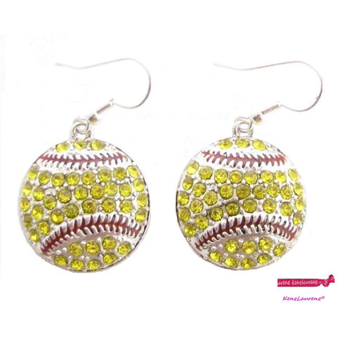 Softball Hook Earrings Rhinestone