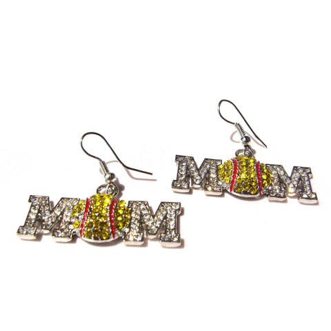 Softball Mom Hook Earrings Rhinestone