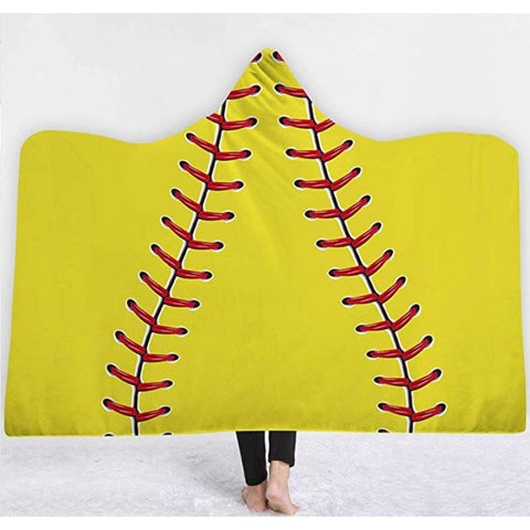 Softball Blanket Large Hooded Sports Blankets Towel Softball Gifts for Girls Mom Coach Team Players