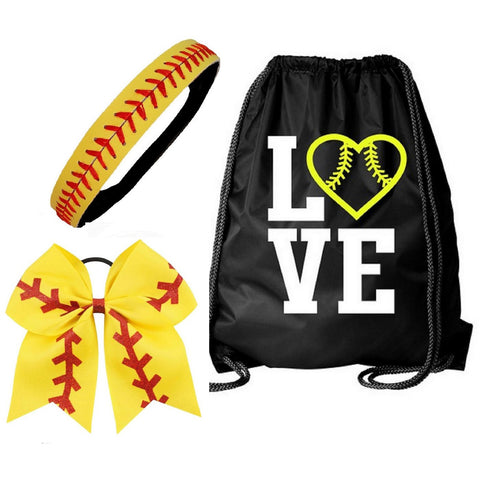 Softball Set Cinch Drawstring Bag Bow and Headband