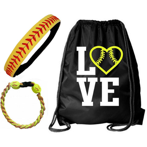 Softball Set Cinch Drawstring Bag Bracelet and Headband