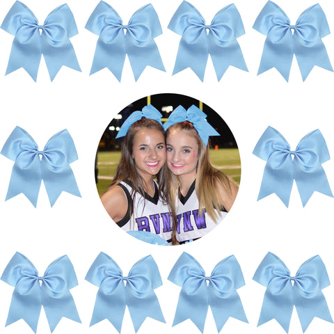 Carolina Blue Cheer Bow Large Hair Bows with Ponytail Holder