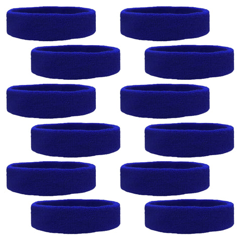 Sweatbands 12 Terry Cotton Sports Headbands Sweat Absorbing Head Bands Blue