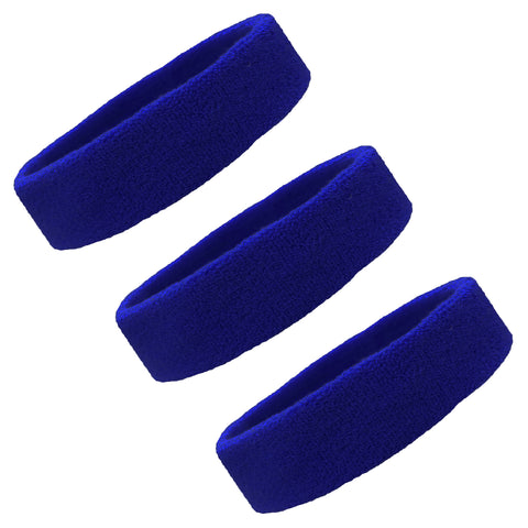 Sweatbands Terry Cotton Sports Headband Sweat Absorbing Head Band Blue 3