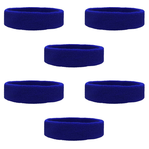 Sweatbands Terry Cotton Sports Headband Sweat Absorbing Head Band Blue 6