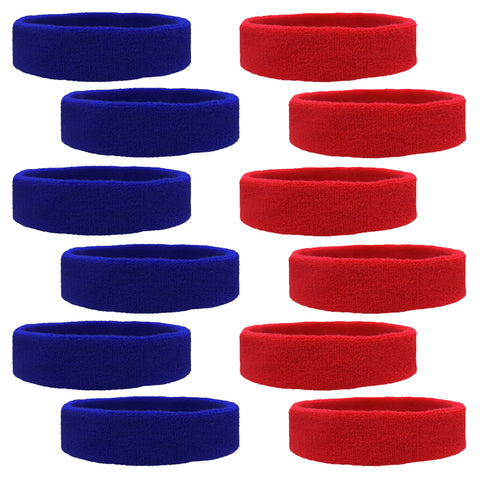 Sweatbands 12 Terry Cotton Sports Headbands Sweat Absorbing Head Bands 6 Red 6 Blue
