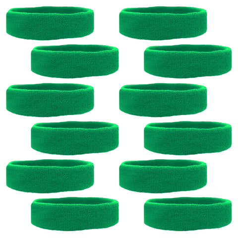 Sweatbands 12 Terry Cotton Sports Headbands Sweat Absorbing Head Bands Green