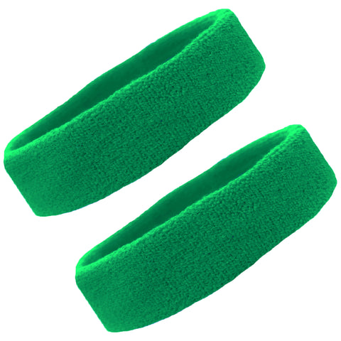 Sweatbands Terry Cotton Sports Headband Sweat Absorbing Head Band Green 2