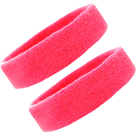 Sweatbands Terry Cotton Sports Headband Sweat Absorbing Head Band Neon Pink 2