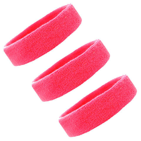 Sweatbands Terry Cotton Sports Headband Sweat Absorbing Head Band Neon Pink 3