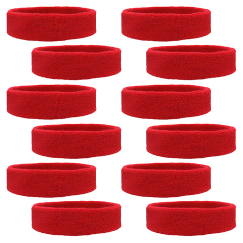 Sweatbands 12 Terry Cotton Sports Headbands Sweat Absorbing Head Bands Red