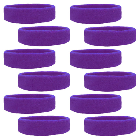 Sweatbands 12 Terry Cotton Sports Headbands Sweat Absorbing Head Bands Royal Purple