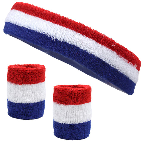 Sweatband Set 1 Terry Cotton Headband and 2 Wristbands Pack Red White Blue