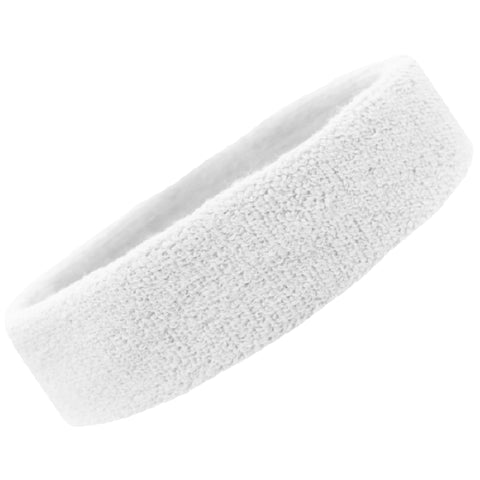 Sweatband Terry Cotton Sports Headband Sweat Absorbing Head Band White