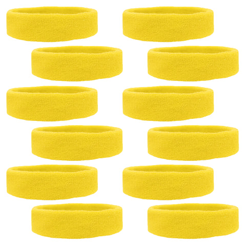 Sweatbands 12 Terry Cotton Sports Headbands Sweat Absorbing Head Bands Yellow