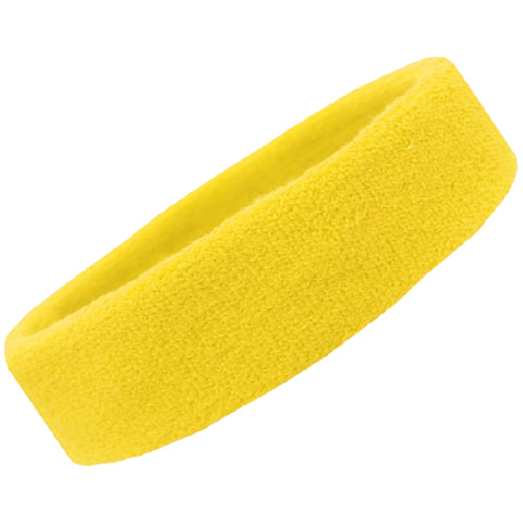 Sweatband Terry Cotton Sports Headband Sweat Absorbing Head Band Yellow