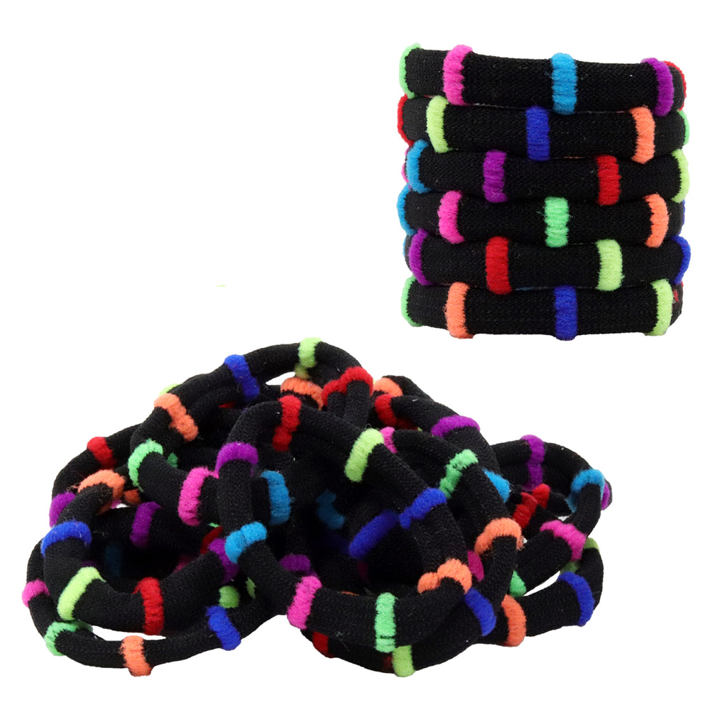 Hair Ties Seamless Terry Elastics 100 Pack Rainbow Black