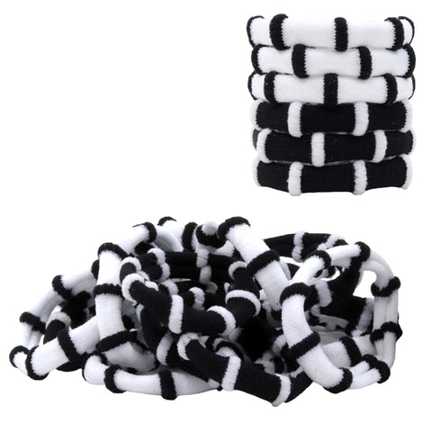 Hair Ties Seamless Terry Elastics 100 Pack Black and White