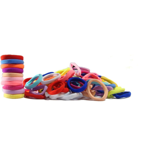 Hair Ties Terry Elastics 100 Pack Rainbow