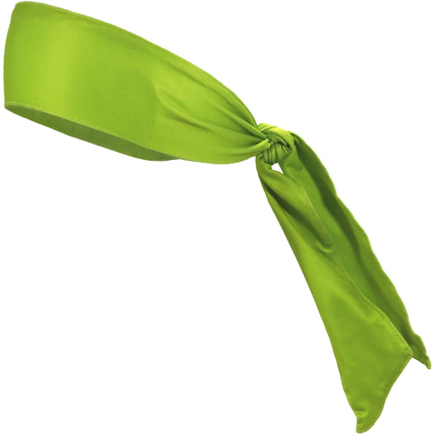 Tie Back Headband Moisture Wicking Athletic Sports Head Band Lime