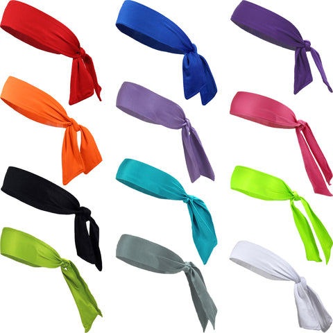 Sports Headbands Tie Back 12 Moisture Wicking Athletic Head Sweat Band Assorted Colors