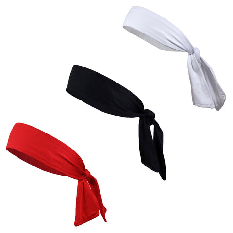 Tie Headbands 3 Tie Back Moisture Wicking Athletic Head Sweat Band Basic Colors