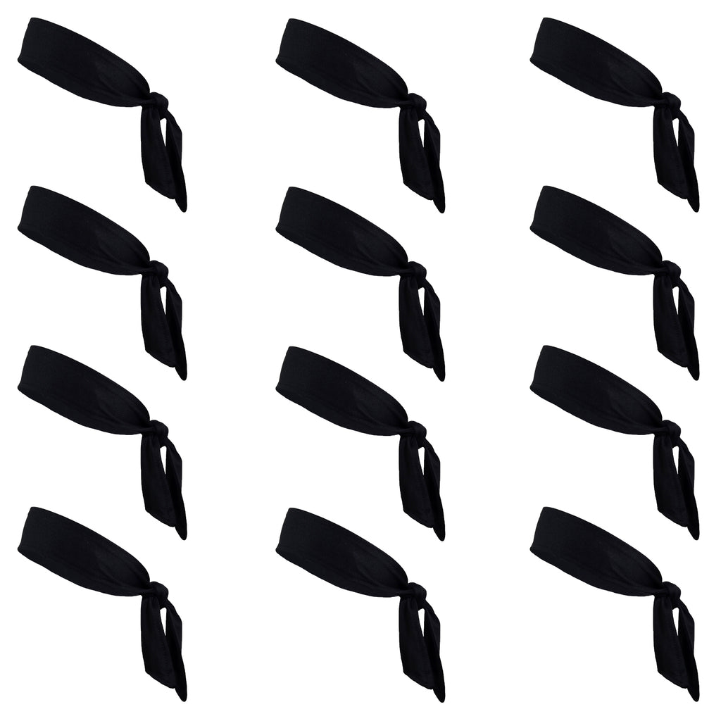 Tie Back Headbands 12 Moisture Wicking Athletic Sports Head Band Black