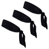Tie Back Headbands 3 Moisture Wicking Athletic Sports Head Band Black