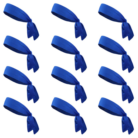 Tie Back Headbands 12 Moisture Wicking Athletic Sports Head Band Blue