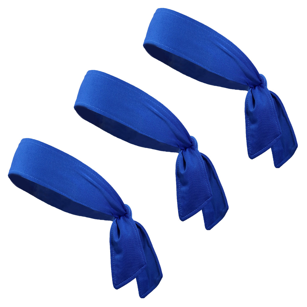 Tie Back Headbands 3 Moisture Wicking Athletic Sports Head Band Blue