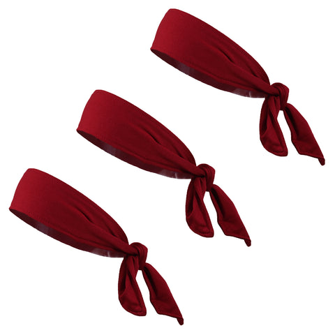 Tie Back Headbands 3 Moisture Wicking Athletic Sports Head Band Maroon