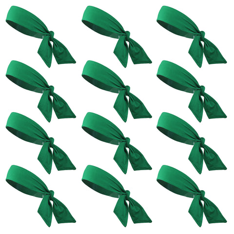 Tie Back Headbands 12 Moisture Wicking Athletic Sports Head Band Green