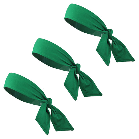 Tie Back Headbands 3 Moisture Wicking Athletic Sports Head Band Green