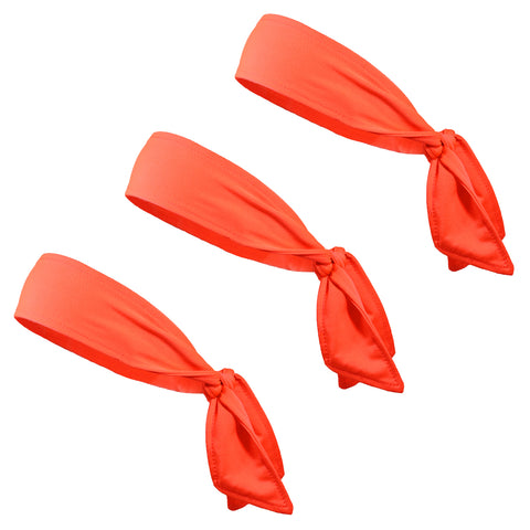 Tie Back Headbands 3 Moisture Wicking Athletic Sports Head Band Neon Orange