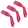 Tie Back Headbands 3 Moisture Wicking Athletic Sports Head Band Pink