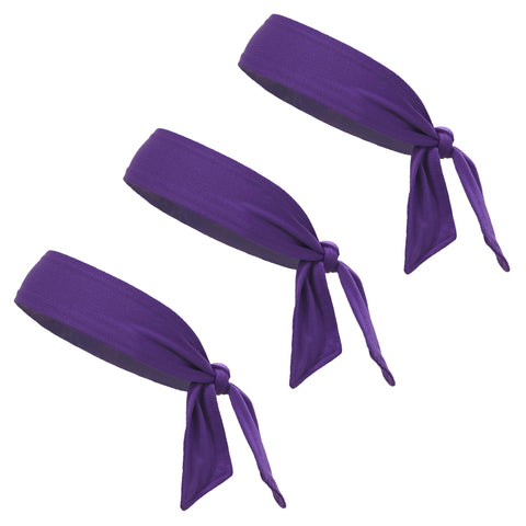 Tie Back Headbands 3 Moisture Wicking Athletic Sports Head Band Purple