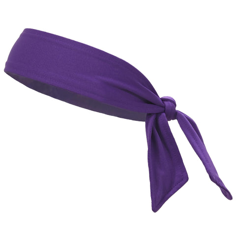 Tie Back Headband Moisture Wicking Athletic Sports Head Band Purple