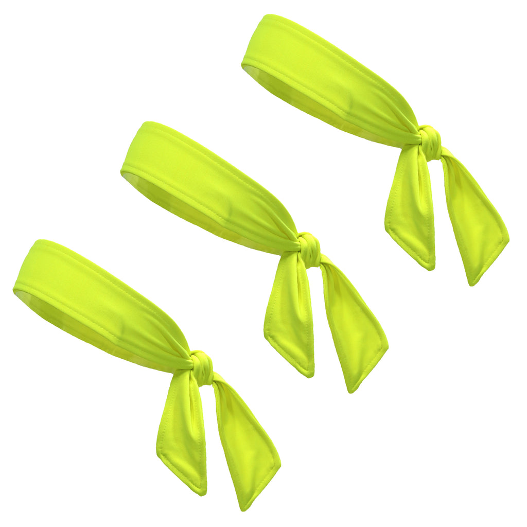 Tie Back Headbands 3 Moisture Wicking Athletic Sports Head Band Neon Yellow