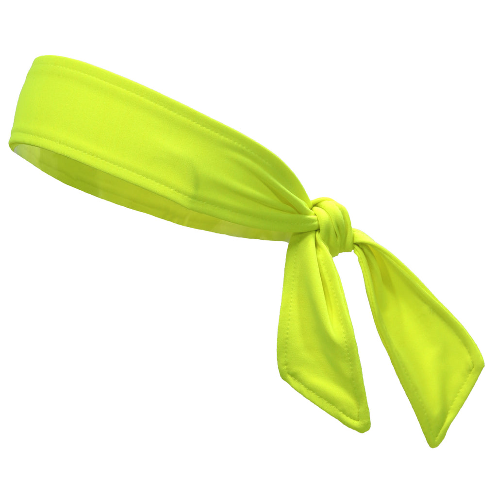 Tie Back Headband Moisture Wicking Athletic Sports Head Band Neon Yellow