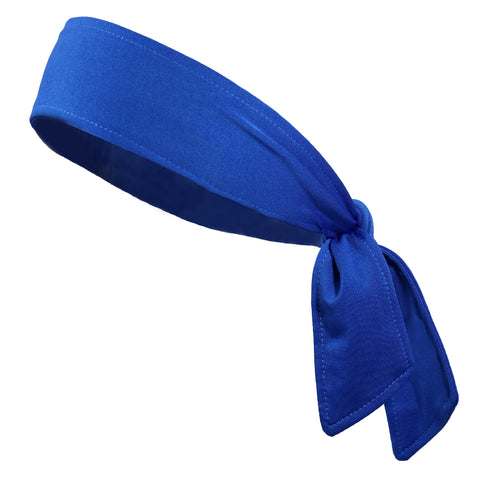 Tie Back Headband Moisture Wicking Athletic Sports Head Band Blue
