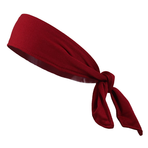Tie Back Headband Moisture Wicking Athletic Sports Head Band Maroon