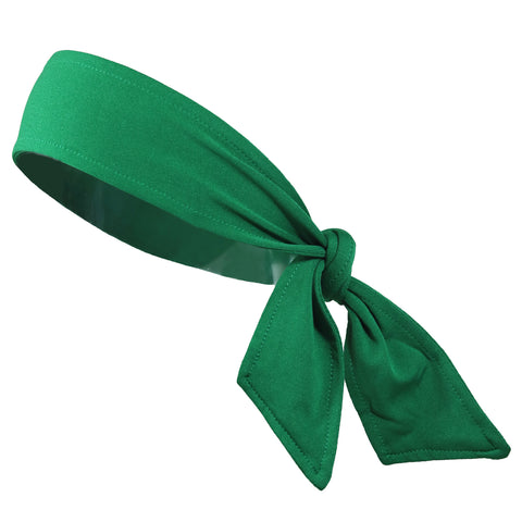 Tie Back Headband Moisture Wicking Athletic Sports Head Band Green