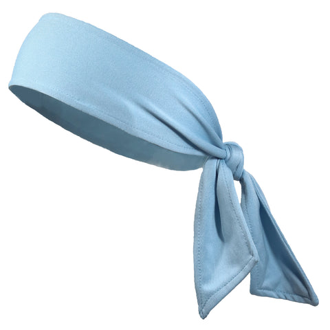 Tie Back Headband Moisture Wicking Athletic Sports Headband Light Blue