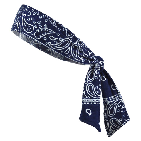 Tie Back Headband Moisture Wicking Athletic Sports Head Band Bandana Navy