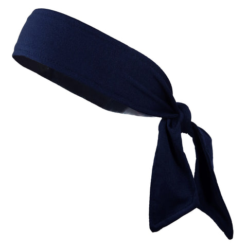 Tie Back Headband Moisture Wicking Athletic Sports Head Band Navy