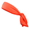 Tie Back Headband Moisture Wicking Athletic Sports Head Band Neon Orange