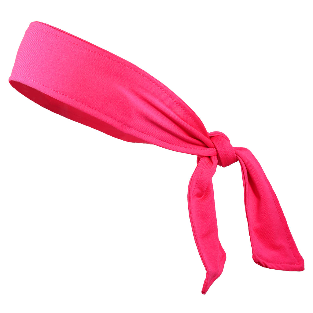 Tie Back Headband Moisture Wicking Athletic Sports Head Band Pink