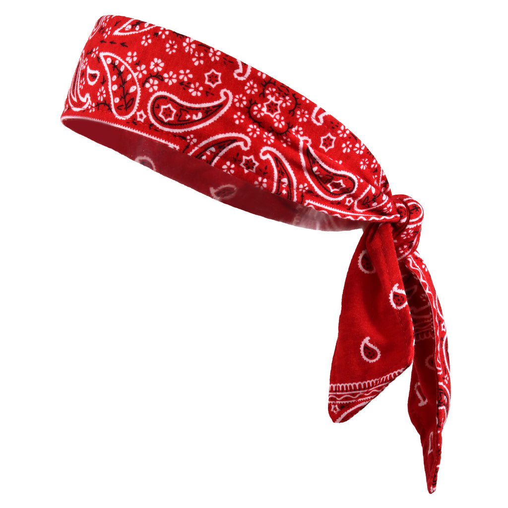 Tie Back Headband Moisture Wicking Athletic Sports Head Band Bandana Red